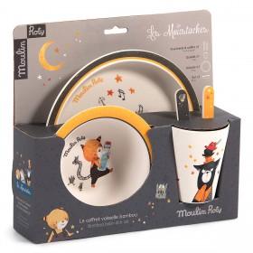 Set Vaisselle 5 Pièces Bambou - Les Moustaches