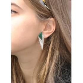 Boucles d'oreilles malachite et argent
