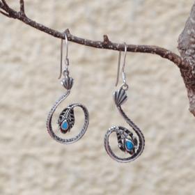 Boucles d'oreilles turquoise et argent