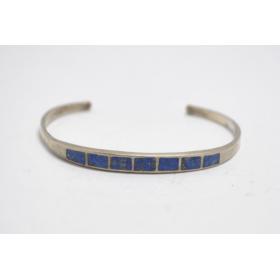 Bracelet manchette lapis lazuli et argent