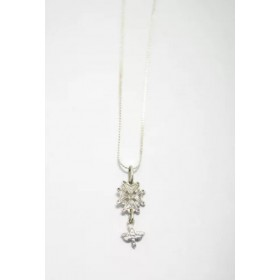 Pendentif croix huguenote et aigle en argent