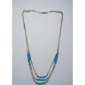 Collier de perles turquoise et argent
