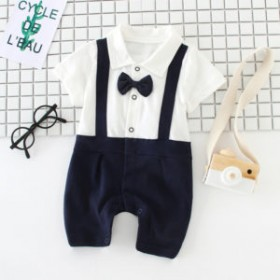 Baby bow gentleman climbing suit
