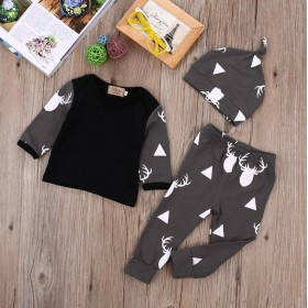 Deer Hat + T-shirt + Pants 3pcs Set
