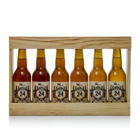 Derde houten meter van 6 bieren gebrouwen uit Sarlat 6 X 33cl