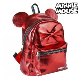 Casual Backpack Minnie Mouse Red Metallic