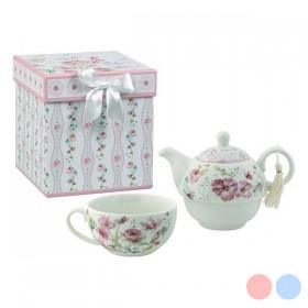 Toy Tea Set Flowers White Pink