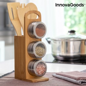 Set of Magnetic Spice Racks with Bamboo Utensils Bamsa